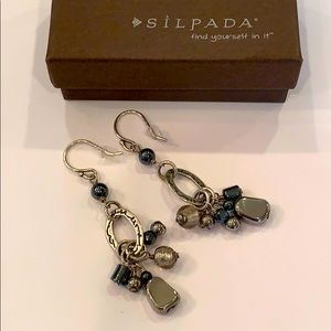 Silpada hematite W1963 dangle glass bead sterling